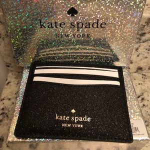 Kate spade black glitter ID wallet